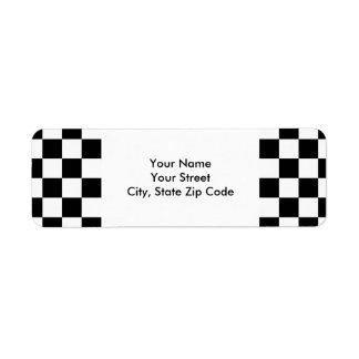 Chequered Black and White return address label