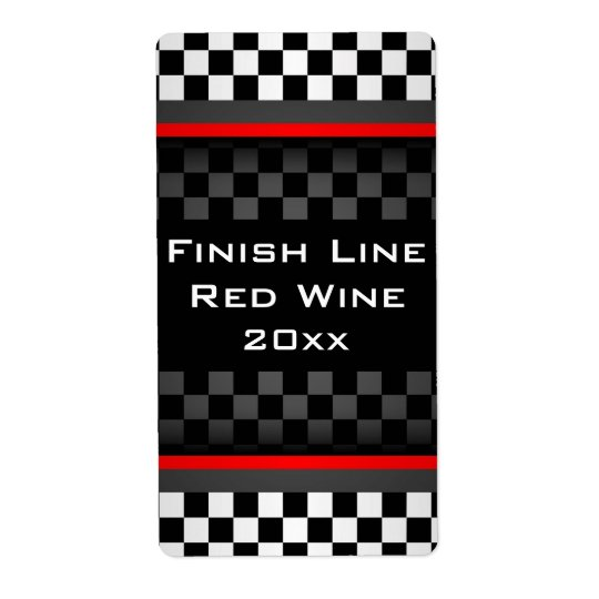 Chequered Design Homemade Wine Label