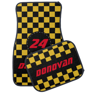 Chequered Flag Pattern | Black & Golden Yellow Car Mat