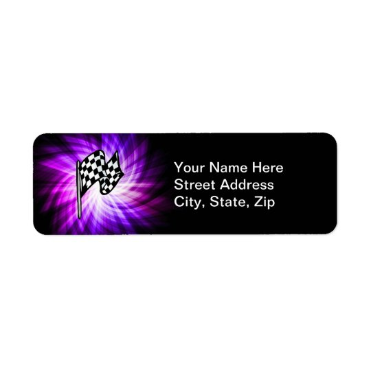 Chequered Flag; purple Return Address Label