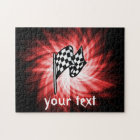 Chequered Flag; red Jigsaw Puzzle