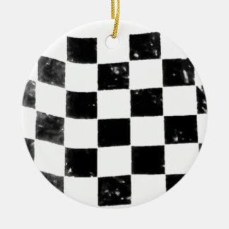 Chequered Flag Round Ceramic Decoration