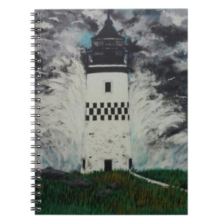Chequered lighthouse in the storm spiral notebook