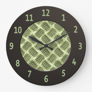 Chequered Metal Steel Flooring Diagonal Texture Wall Clocks