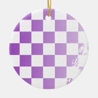 Chequered Purple Grunge Ceramic Ornament