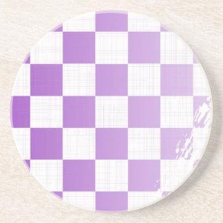 Chequered Purple Grunge Coaster