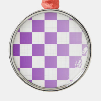 Chequered Purple Grunge Metal Ornament