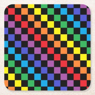 Chequered Rainbow Black Square Paper Coaster