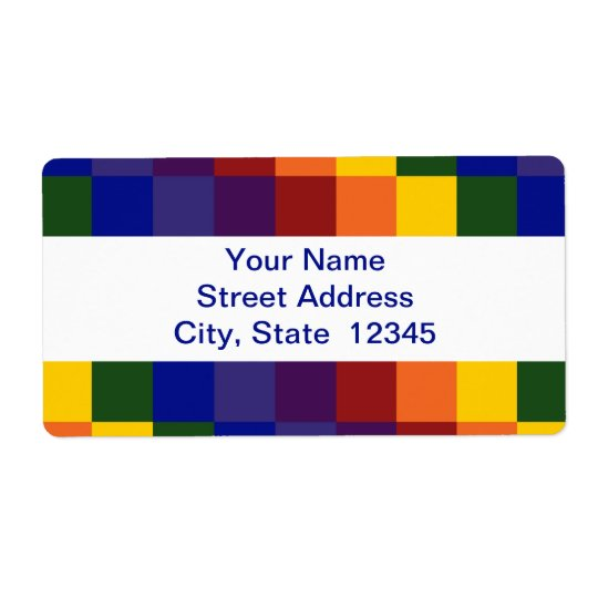 Chequered Rainbow shipping label