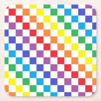 Chequered Rainbow Square Paper Coaster