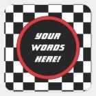 Chequered Square Custom Text Square Sticker