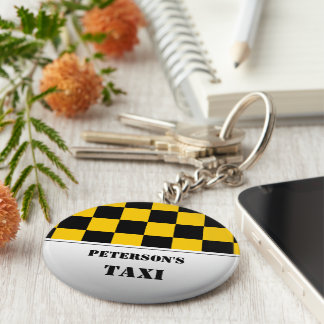 Chequered taxi monogram basic round button key ring