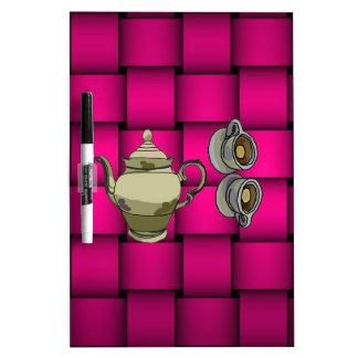 Cherise Pink Plaid Dry-Erase Whiteboard