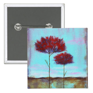 Cherished, Abstract Art Landscape Red Trees 2 Inch Square Button