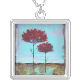Cherished Square Pendant Necklace Painting