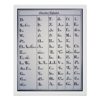 Cherokee Alphabet, developed in 1821 (print) Poster