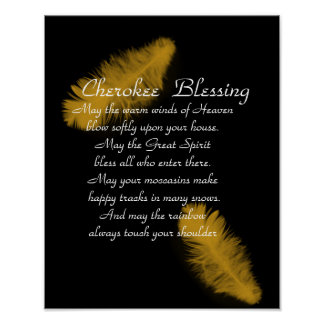Cherokee blessing Golden feather on black Poster