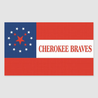 Cherokee Braves Flag, United States Rectangular Sticker