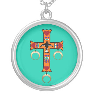 CHEROKEE CROSS SILVER PLATED NECKLACE