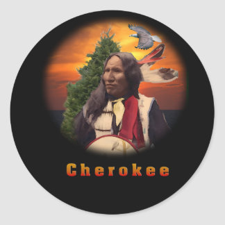 Cherokee indian classic round sticker