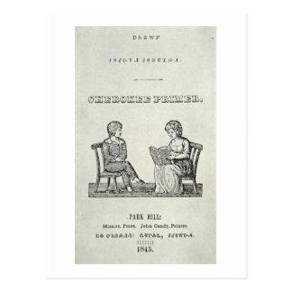 Cherokee Primer, 1845 (engraving) Postcard