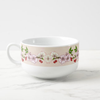 Cherries and Blossoms Border Soup Bowl With Handle