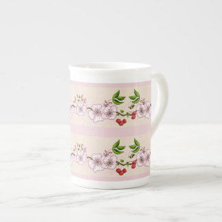 Cherries and Blossoms Border Tea Cup