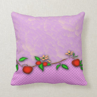 Cherries And Flowers Throw Pillow