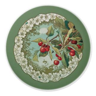 Cherries ~ Botanical Fruit ~ Any Background Color~ Ceramic Knob