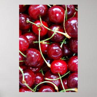 Cherries close-up poster