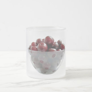 cherries frosted glass coffee mug