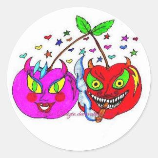 Cherries in Love Round Sticker