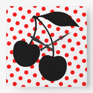 Cherries on Red Polka Dots Square Wall Clock