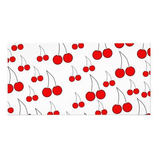 Cherries Pattern. Photo Greeting Card