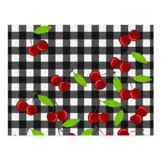 Cherries pattern postcard
