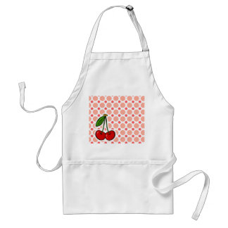 Cherries; Pink & Coral Polka Dots Adult Apron