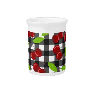Cherries plaid pattern pitcher