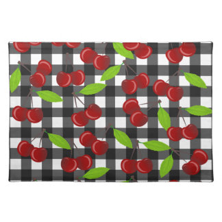 Cherries plaid pattern placemat