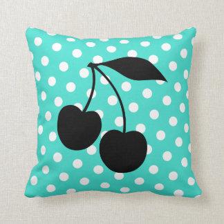 Cherries Shape on Turquoise Dots Cushion