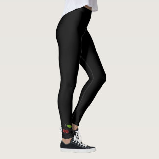 Cherries: Simple Black Ankle Art Collection Leggings
