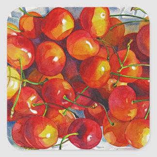 'Cherries' Square Stickers