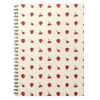 Cherries & Strawberries Pattern Spiral Notebook