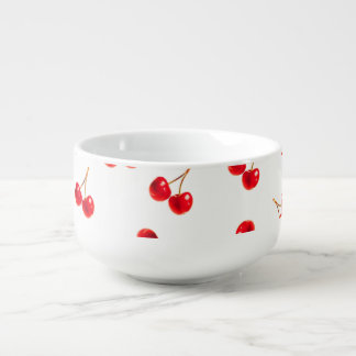 cherries vivid soup bowl with handle