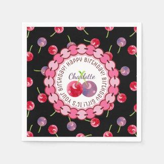 Cherries Watercolor Personalized Birthday Paper Napkin
