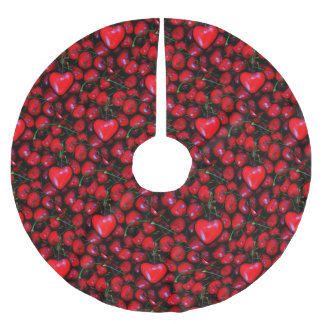 cherries with heart love brushed polyester tree skirt