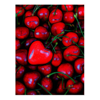 cherries with heart love postcard
