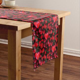 cherries with heart love short table runner