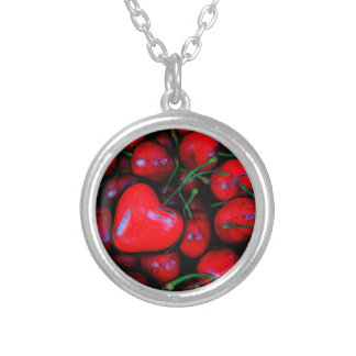 cherries with heart love silver plated necklace