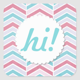 Cherry and Blue Faded Chevron Pattern Hi! Square Sticker