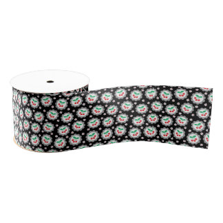 Cherry and Daisy  Pattern Ribbon Grosgrain Ribbon